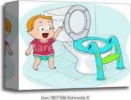 Baby Flushing Toilet Canvas Print Barewalls Posters Prints