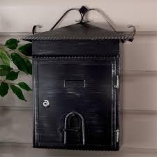 locking residential mailboxes. Rustico Wall-Mount Locking Mailbox - Aged Black Powder Coat Locking Residential Mailboxes C