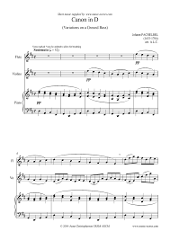 pachelbel canon violin sheet music sheet music for canon trio for flute violin and piano by johann
