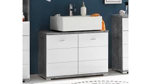 Waschbeckenunterschrank Pool Badezimmer In Beton Grau Und Mdf Weiß