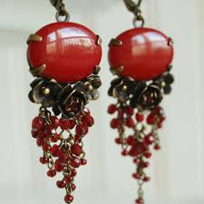 red chandelier earring pomegranate merlot mata hari earring or