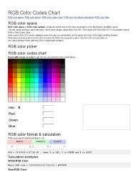 RGB Color Codes Chart | Rgb Color Model