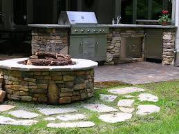 outdoor stone fire pit. Cultured Stone Firepit And Outdoor Kitchen Fire Pit