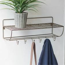 Brass Wall Coat Rack Brass Wall Shelf With Coat Rack Antique Farmhouse 70