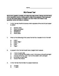 mla formtat mla format test with answer key and explanations by lowry