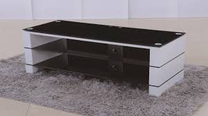 tv stand in white high gloss black glass  homegenies