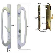 sliding glass patio door handle set with mortise lock white