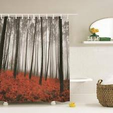 modern fabric shower curtain. Item 5 Mystic Forest Trees Red Grass Modern Art Foggy Scene Print Fabric Shower Curtain -Mystic R