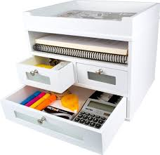 victor tidy tower desk organizer 10 34 h x 12 310 w x 10 34 d pure white combines a large letter tray open shelf and drawers for supplies sy wood