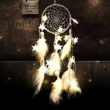handmade dream catcher net with feathers beads wall hanging decoration stars string lights dream catcher diy
