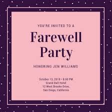 pink dots farewell party invitation