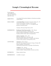 Accounting Chronological Resume Templates At