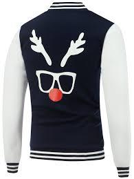 Jackets Cadetblue L Stand Collar Christmas Deer Horn Print Color