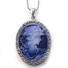 details about white blue cameo pendant necklace charm antique silver brass lady oval women m1