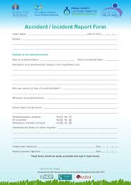 Child Care Incident Report Example Accident Incident Report Form Childcare Committee Dublin