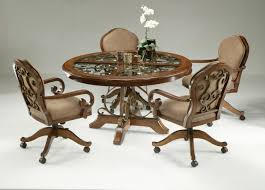 livingroom stunning kitchen table sets with rolling chairs inspirational and dinette rollers for rv metal
