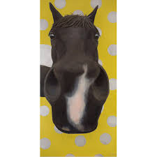 funny horse painting large black horse painting oil w green and silver