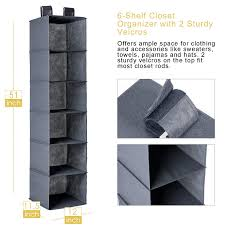 sturdy hanging closet organizer. Interesting Closet Closet Hanging Shelf MaidMAX 6Shelf Collapsible Accessory  Organizer With 2 Widen Velcros For Clothes And Shoes Storage Grey Throughout Sturdy