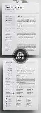 Resume Design Templates Inspiration Modern Resume Template Single Page Resume Template Cover Letter