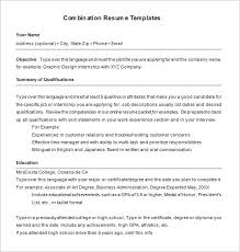 Combination Resume Template 6 Free Samples Examples Format