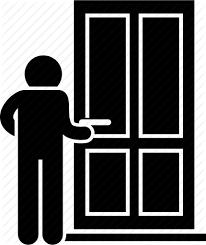 door man opening person wooden icon