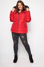 Красная короткая зимняя дутая <b>куртка</b> для полных женщин ...