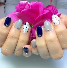 グレーネイビードットネイル 京都宇治のネイルサロン nail