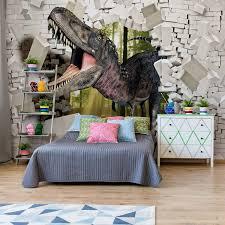 3d dinosaur bursting through brick wall
