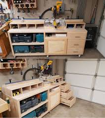 small woodworking workshop. miter saw stand plan with some personal modifications to meet his needs. | completed project small woodworking workshop r