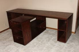 furniture brown stained wooden corner work station desk for two with open shelf and rack as well as counter height computer desk also computer desk stand