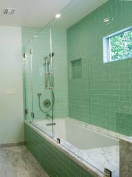 lush surf green 3x6 glass subway tile in surf bathroom shower walls installation