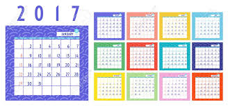 Vector Of Calendar 2017 Year 12 Month Calendar With Colorful