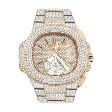 Patek Gold Nautilus 18k Rose Men Philippe Out 35ct Watch For Iced Diamond