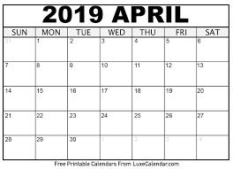 April 2019 Calendar Printable Luxe Calendar
