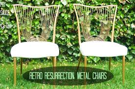 diy spray paint metal chairs makeover tutorial