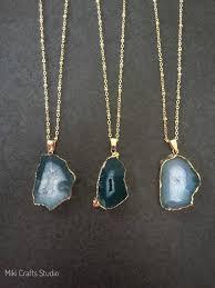 druzy green agate slice pendant necklace natural stone pendant necklace agate slice necklace gemstone necklace green stone necklace