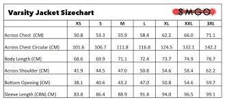 Varsity Jacket Size Chart Smgo Varsity Jacket Size Chart Smgo