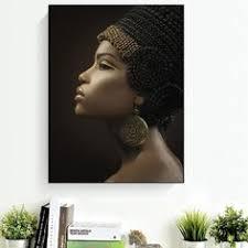 3 piece <b>gold</b> afro queen <b>wall</b> art canvas