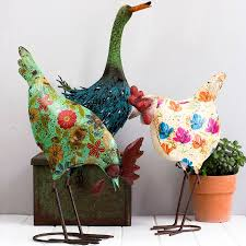 metal garden ornaments hen goose flamingo or pea by the