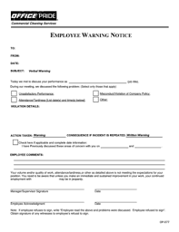 Written Verbal Warning Sample 126 Printable Verbal Warning Template Forms Fillable