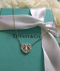 details about authentic tiffany co small enchanted heart pendant w 17 inch attached necklace
