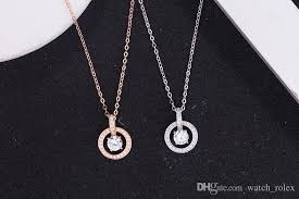 luxury brands round diamond single diamond pendant necklace 925 sterling silver necklace for women wedding gift whole free