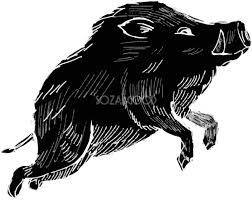 白黒のかっこいい飛躍するイノシシ亥年の年賀状イラスト無料フリー84825