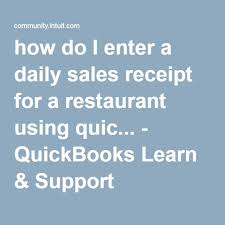 Restaurant Chart Of Accounts Quickbooks Online How Do I Enter A Daily Sales Receipt For A Restaurant Using