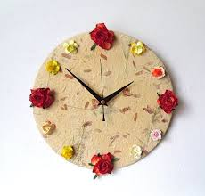 Unique <b>Wall Clock</b> - Mulberry Paper Decoupage Clock - Paper ...