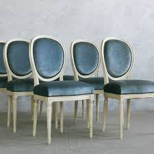 blue velvet dining chairs. Eloquence One Of A Kind Vintage Dining Chairs Louis XVI Slate Velvet Set 6 #laylagrayce Blue L