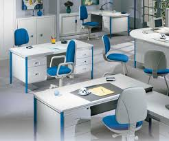 combined office interiors desk. Modern White Office Furniture Combined With Blue Accents Interiors Desk