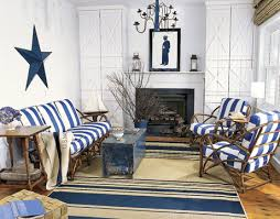 furniture for a beach house. Living Room With Blue And White Striped Furniture Rug. Beach House Makeover For A