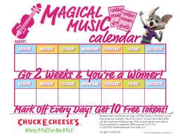 Chuck E Cheese Printable Chart Bring In The Completed Calendar To Chuck E Cheese And