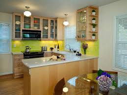 Kitchen:Light Brown U Shaped Kitchen Design Ideas Using White Marble  Countertop Also Yellow Ceramic